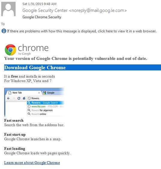Fake Chrome Update Phishing Email Installs Ransomware