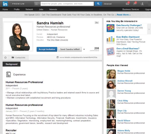 sandra hamish fake linkedin profile