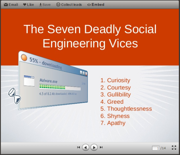 New on SlideShare: The Seven Deadly Social Engineering Vices