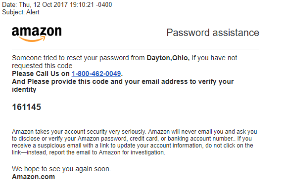 Amazon Password Phishing Email
