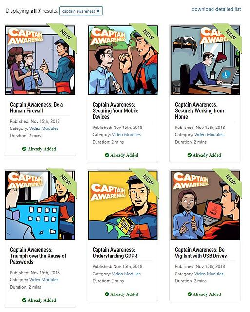 Captain_Awareness_First_6_modules  - Captain Awareness First 6 modules - KnowBe4 Fresh Content Update & New Features November 2018