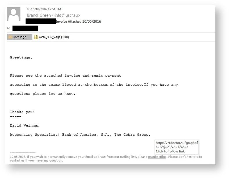 Cerber Ransomware Phishing Email