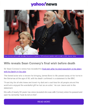 Scam of the Week Sean Connery Death