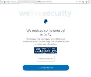 Paypal phishing - screenshot courtesy ESET