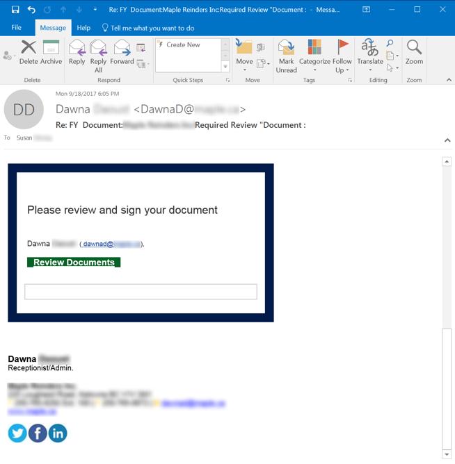 File Phishing Email