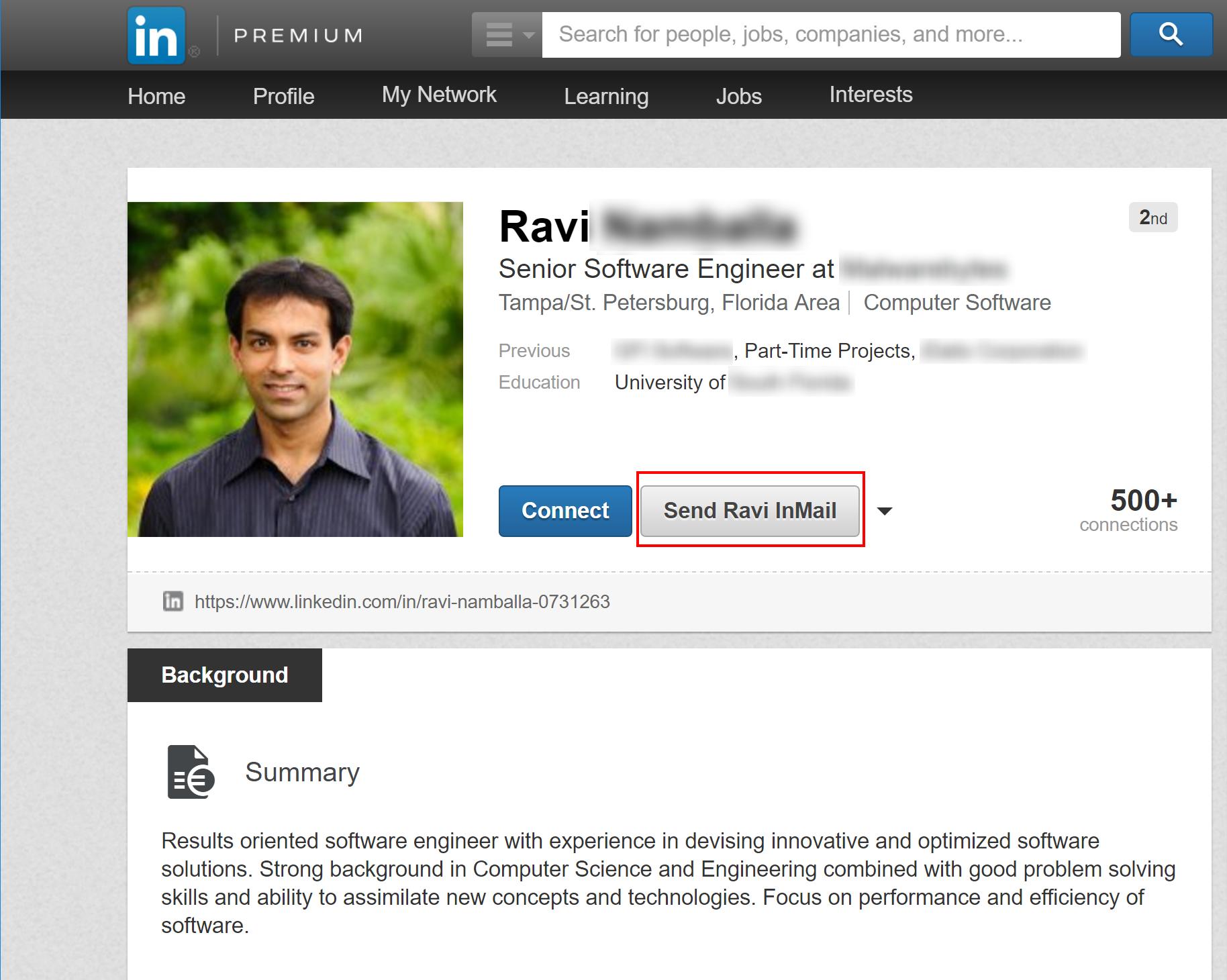 LinkedIn Phishing Example