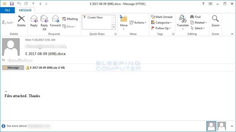 Locky Ransomware Diablo6 Phishing Email