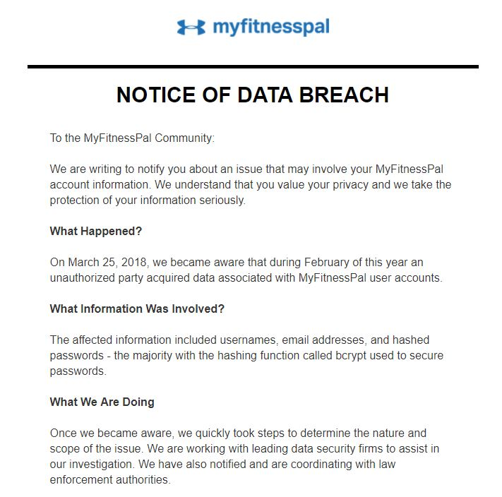 MyFitnessPal  - MyFitnessPal - 150 Million Under Armour MyFitnessPal Users Are Now Phishing Targets