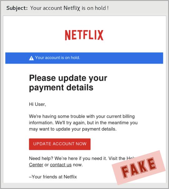 Netflix phishing email