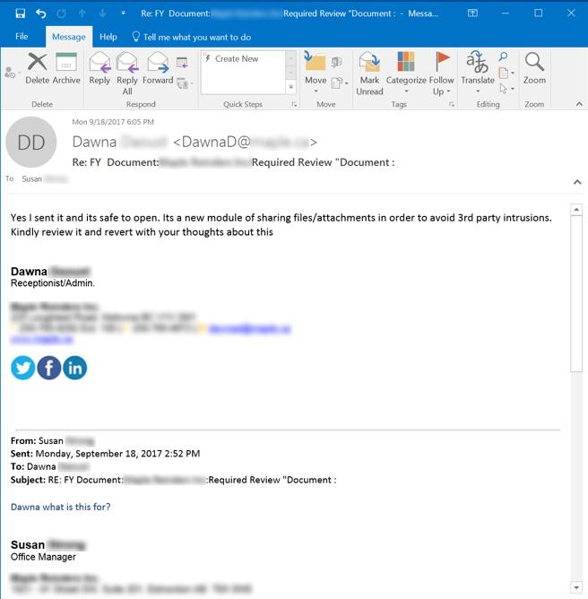 Phishing Response Email