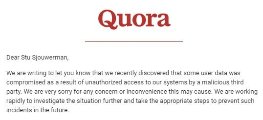 Quora_Data_Breach  - Quora Data Breach - Data Breach at Q&A Site Quora Affects 100 Million