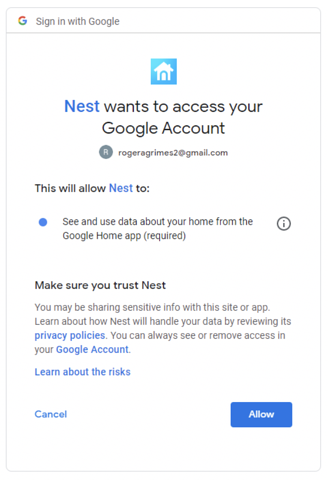 google nest phishing email