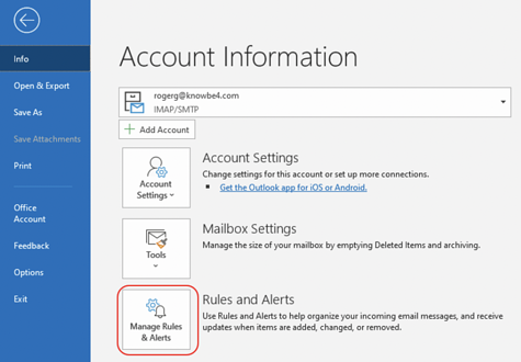 microsoft outlook rules and alerts