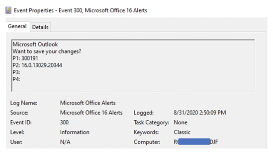 event properties office365