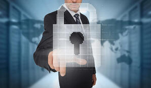 Businessman selecting a digital padlock with a world map on the background-1