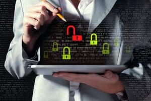 Businesswoman holding tablet pc entering password. Security concept-3