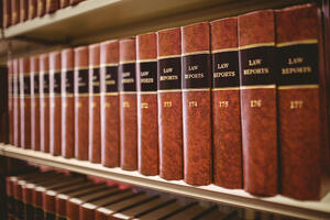 Close up of a lot of law reports in library