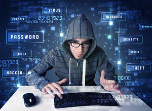 Hacker programing in technology environment with cyber icons and symbols-1