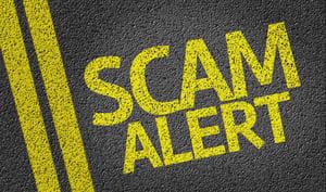 Scam Alert written on the road