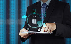 businessman hand pointing to padlock on touch screen computer as Internet security online business concept-1