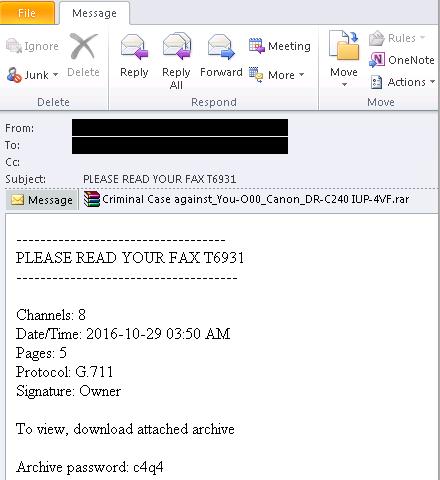 Fax Attachment Ransomware