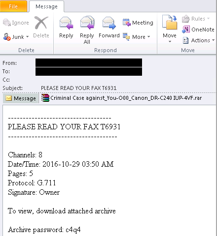 Fax Attachment Ransomware