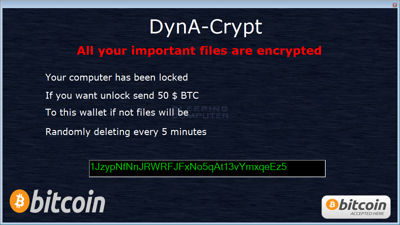 DynA-Crypt Ransomware Note