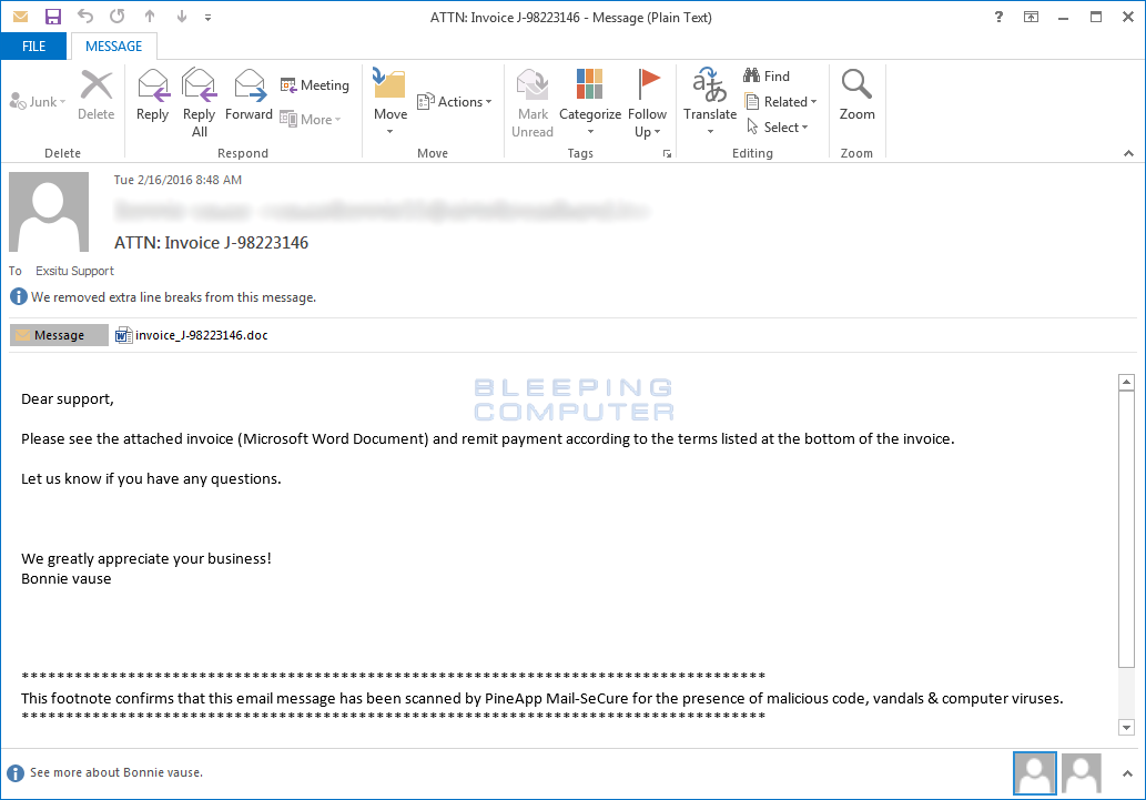 Locky Ransomware Email
