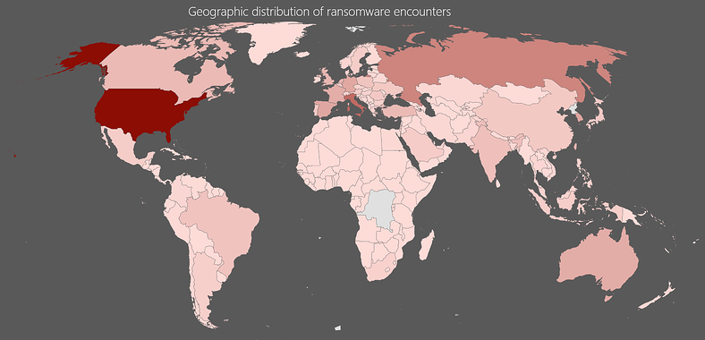 Ransomware Geographic-Distribution Chart