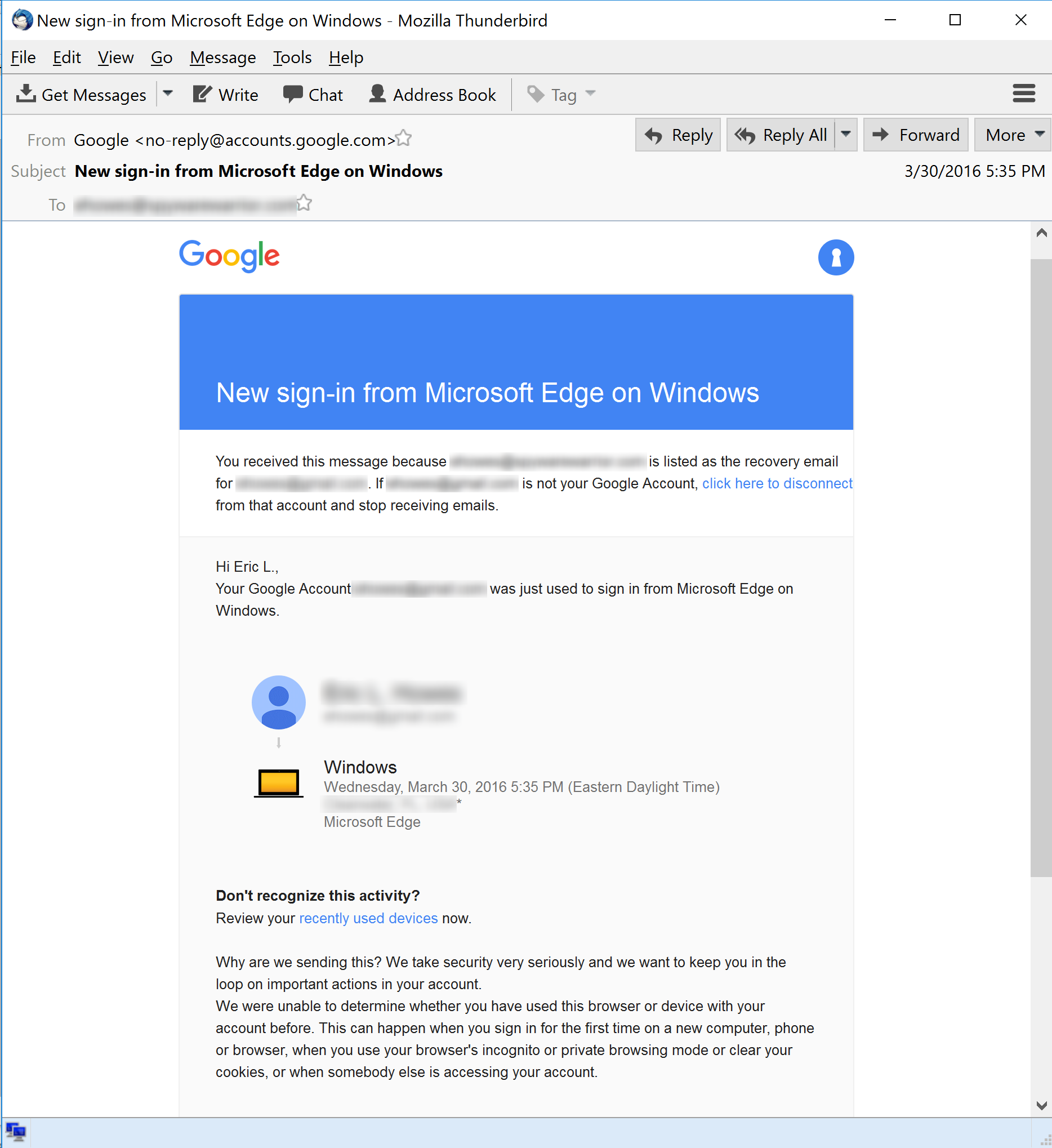 Google New Sign-In Notice