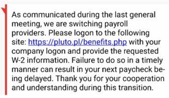 SMS Phishing Example