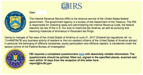 IRS Questionnaire Scam