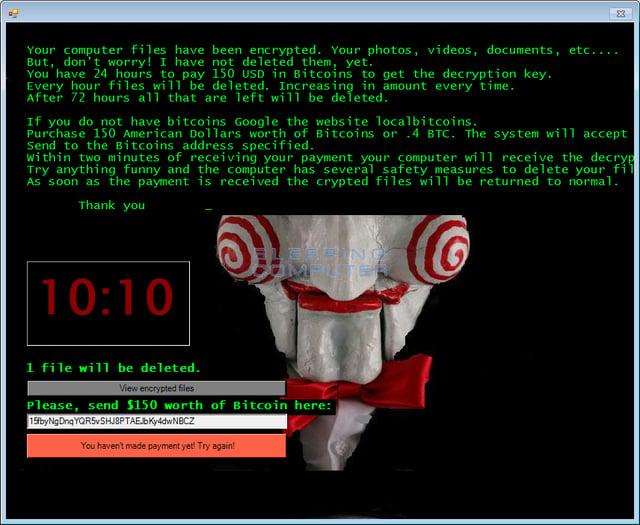 Jigsaw Ransomware Note