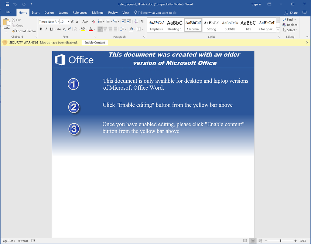 Microsoft Word Enable Macros Ransomware