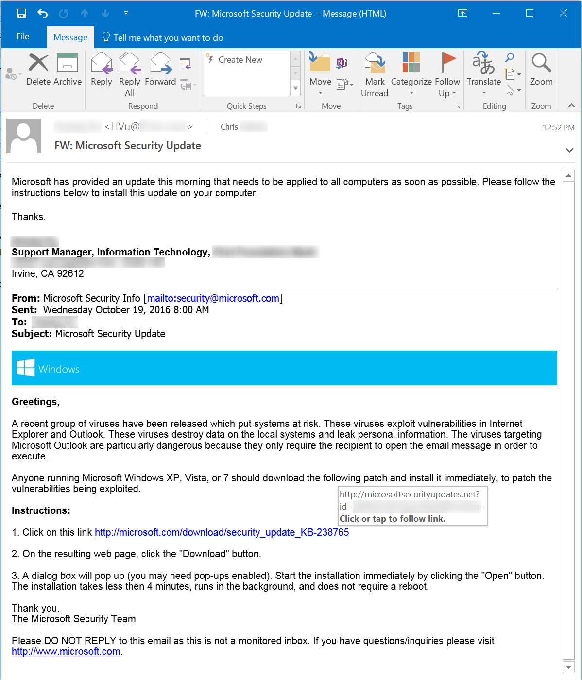 MS Update Phishing Email