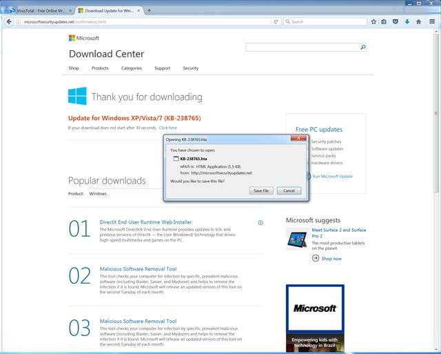 Fake Microsoft Update Download