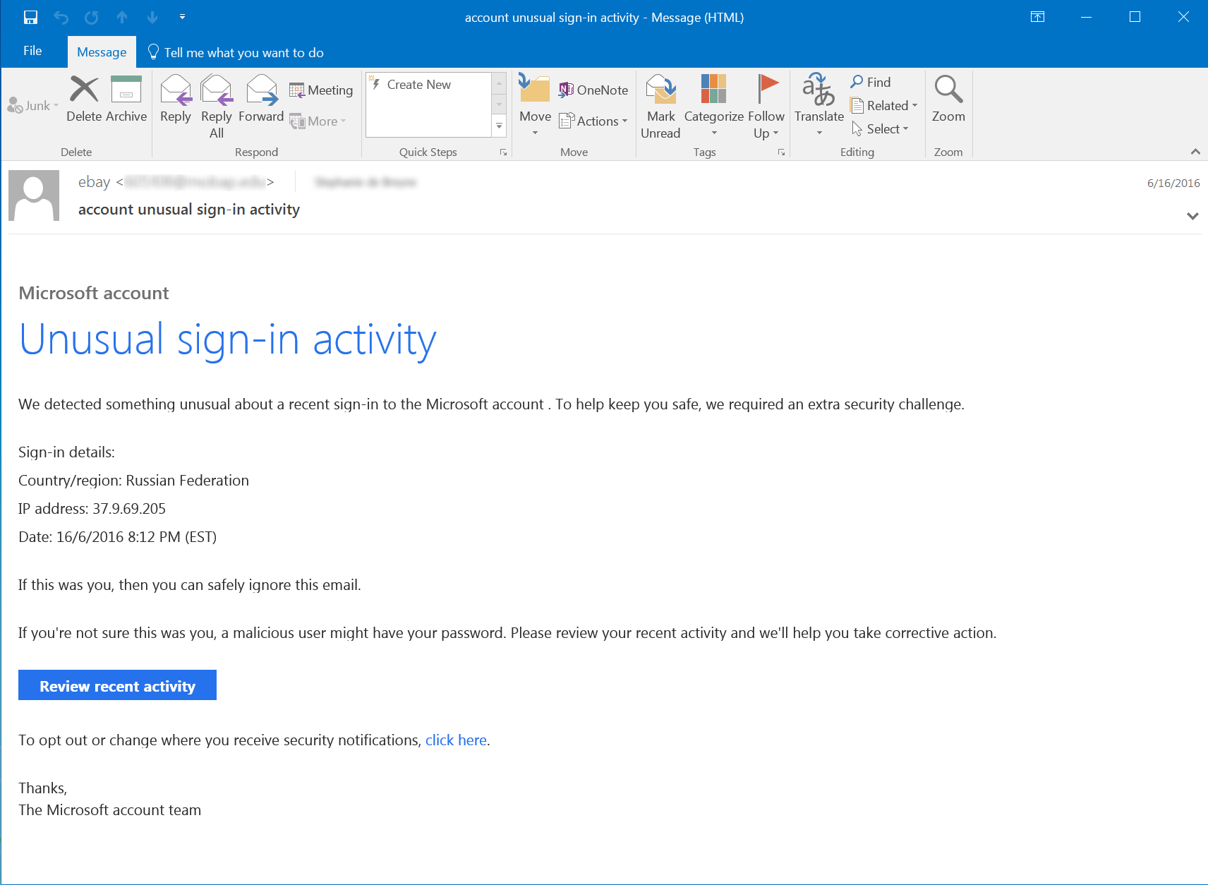 Fake Microsoft Compromised Account Notice
