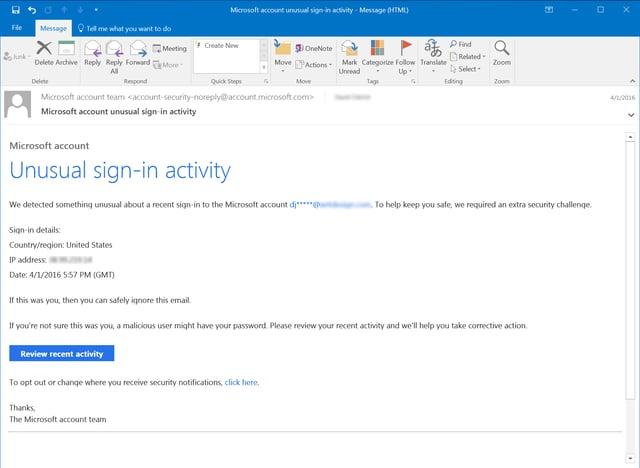 Microsoft Unusual Activity Notice