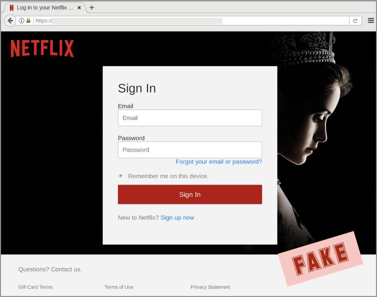 Netflix phishing site