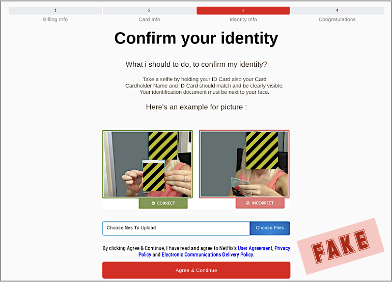 fake selfie identity confirmation