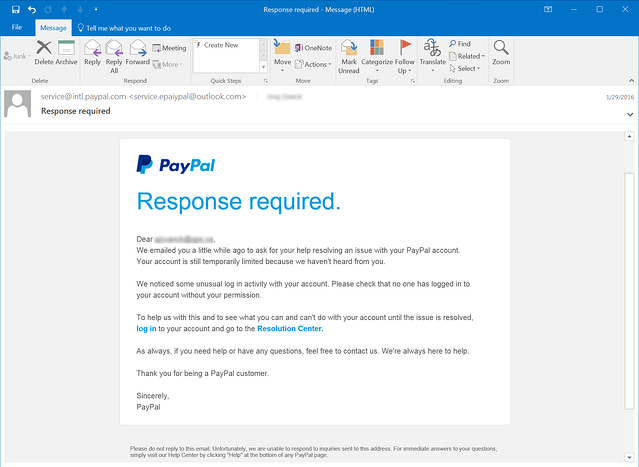 Paypal Phishing Security Notice