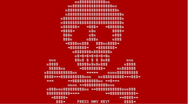 Petya Ransomware Skull Screen