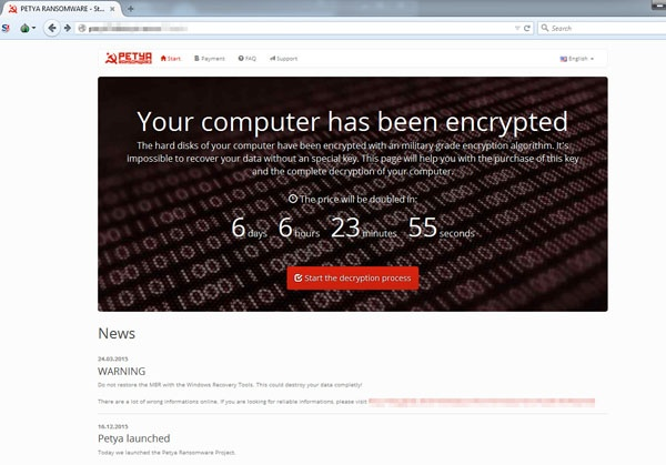 Petya Ransomware Encryption Message