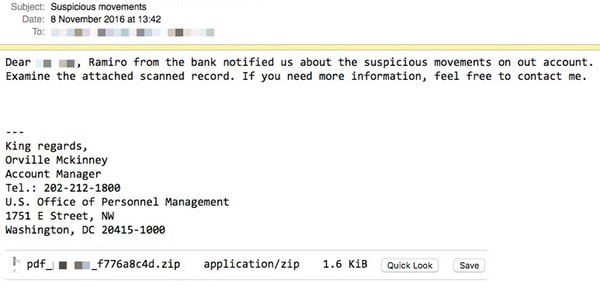 Locky Ransomware Phishing Email