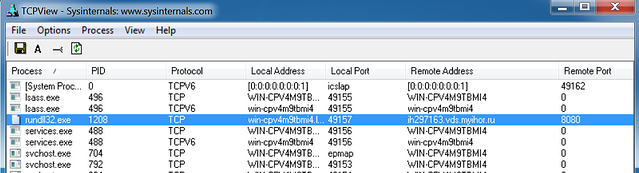 TCPView Connections