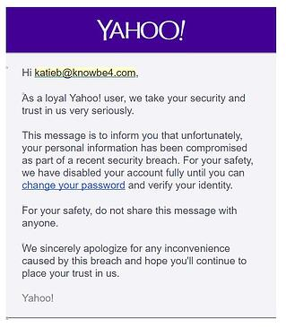 Yahoo Breach Phishing Template
