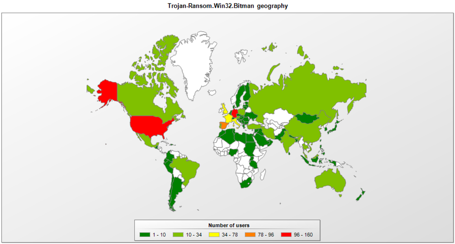 TeslaCrypt Ransomware Heat Map