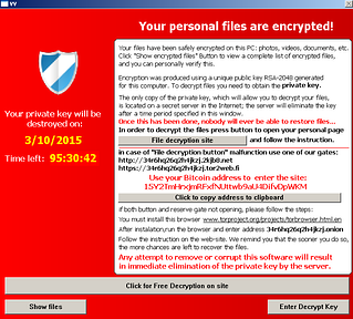 TeslaCrypt Ransomware Message