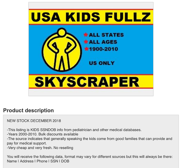 usakidsfullz  - usakidsfullz - Children's Full Personal Data and SSNs Are Being Sold on the Dark Web
