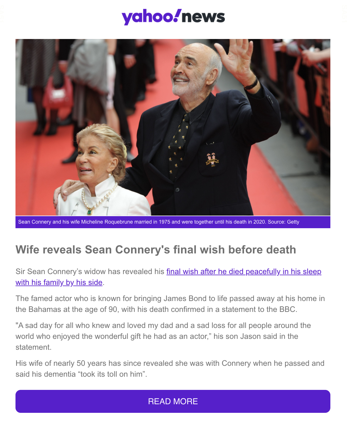 [SCAM OF THE WEEK] Sean Connery's Final Wish is Revealed